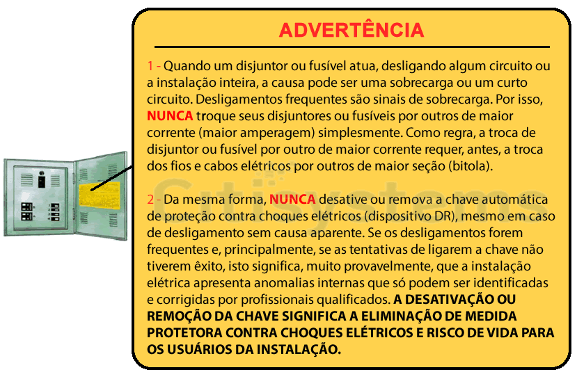 advertencia quadro de distribuicao energia eletrica