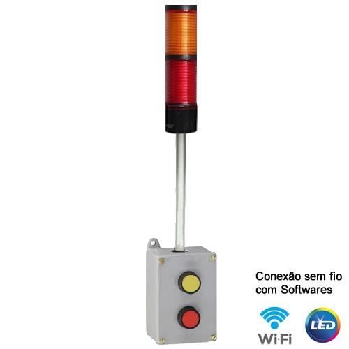 Torre com botoeira WI-FI 2 estágios Verm-Amar-220V - IND-TBW2ABP-220 Andon Torre com botoeira WI FI 2 est  gios amarelo 500x500