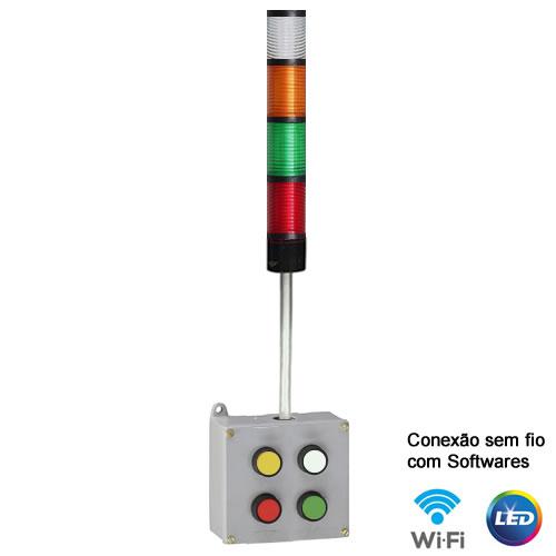 Torre com botoeira WI-FI 4 estágios Verm-Verd-Amar-Bran-220V - IND-TBW4BP-220